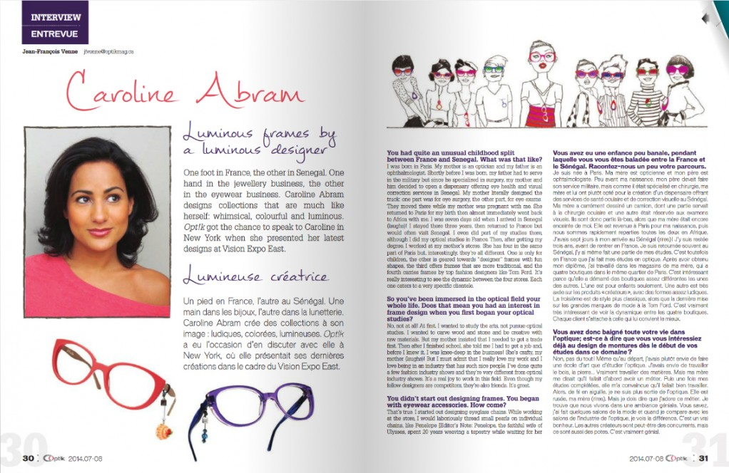 Presse CAROLINE ABRAM - OPT!K MAGAZINE JULY/AUGUST 2014 (PAGE 1)